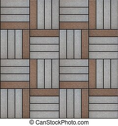 Gray and Brown Rectangle Laid in Form of Weaving.