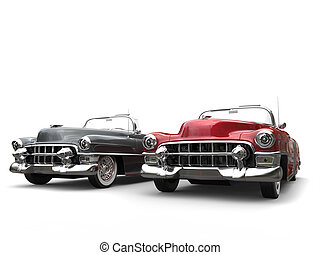 Gray and cherry red cool vintage cars with white wall tires
