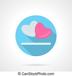 Gray and pink hearts round vector icon