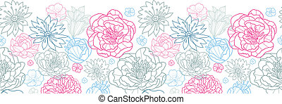 Gray and pink lineart florals horizontal seamless pattern background