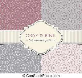 Gray and pink seamless patterns