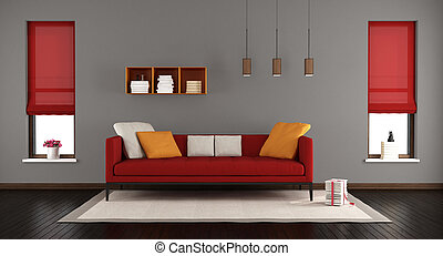 Gray and red modern living room