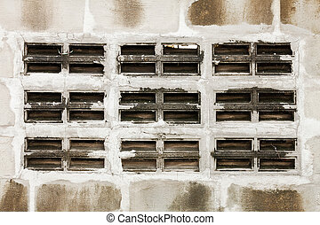 Gray and white cinder block wall background