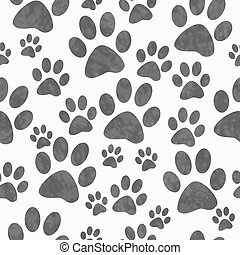 Gray and White Dog Paw Prints Tile Pattern Repeat Background...