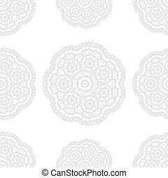 Gray and white fantasy seamless pattern with ornamental round doodle flower isolated on white background. Gray outline mandala. Geometric circle element wallpaper. Vector illustration.