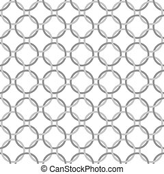 Gray and White Interlaced Circles Textured Fabric Background...
