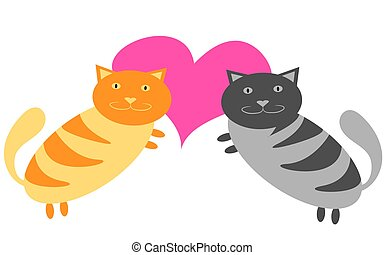 Gray and yellow cats are hugging next to a pink heart on Valentine's Day on a white background. Vector illustration.
