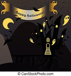 Gray and yellow halloween castle with a text banner