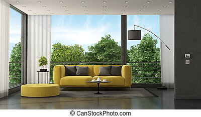 Yellow sofa in front of a large window in a minimalist living room - 3d rendering