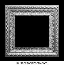 Gray antique frame isolated on black background