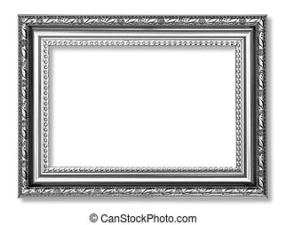 Gray antique frame isolated on white background