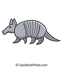 Gray armadillo animal - Vector illustration of gray colored...