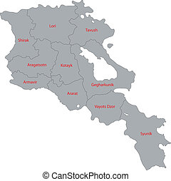 Armenia map Map of administrative divisions of republic of