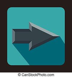 Gray arrow icon, flat style