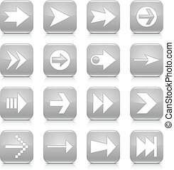 Gray arrow sign rounded square icon web button