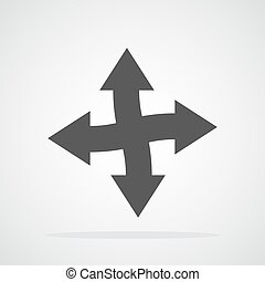 Gray arrows. Vector illustration - The arrow points in four ...