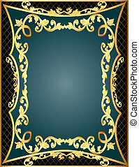 gray background frame with gold(en) pattern and net