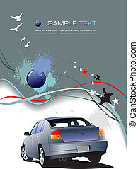Gray background with blue car. Vector illustration