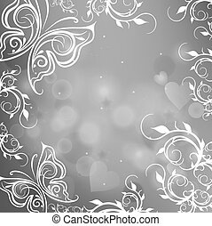 gray background with butterflies