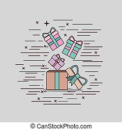 gray background with cardboard box and gift boxes
