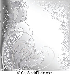 gray background with flowers - abstract blurred gray...