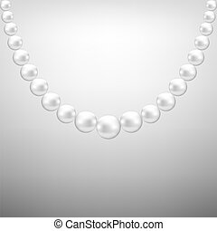 Gray background with hanging white pearl necklace