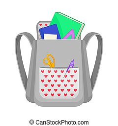 Gray backpack with red hearts in the pocket. Vector illustration on a white background.