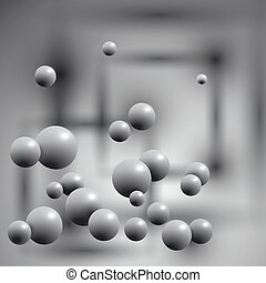 Gray balls in the air on abstract background.