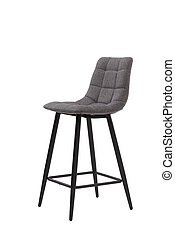 gray bar textile stool isolated on white background. modern gray bar chair front view. soft comfortable upholstered tall chair. interrior furniture element.