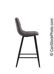gray bar textile stool isolated on white background. modern gray bar chair side view. soft comfortable upholstered tall chair. interrior furniture element.