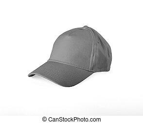 Gray Baseball Cap on white background.