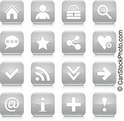 Gray basic sign rounded square icon web button