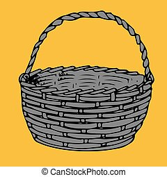 Gray basket for products, silhouette-cartoon on yellow background,