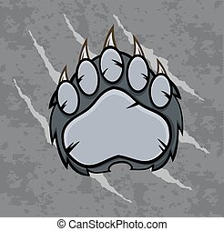 Gray Bear Paw Illustration