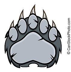 Gray Bear Paw With Claws. Illustration Isolated On White