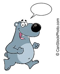 Gray Bear With Speech Bubble