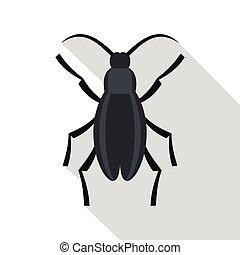 Gray beetle icon, flat style
