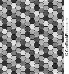 Gray, Black and White Hexagon Mosaic Abstract Geometric Design Tile Pattern Repeat Background