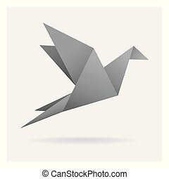 gray black bird paper craft flying in frame art isolated on background