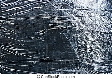 gray black plastic texture from a crumpled piece of cellophane