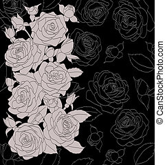 gray bouquet of roses on a black background