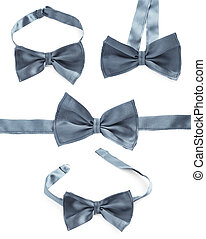 Gray bow tie isolated