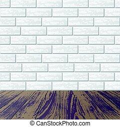 Gray brick wall with laminate floor