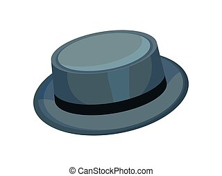 Gray brimmed hat. Vector illustration on white background. -...