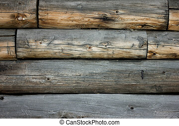 gray brown old log wall, background with wood texture