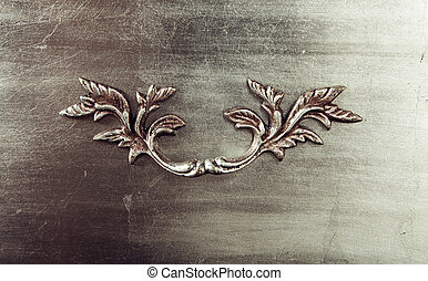 Brushed Metal texture with art floral element