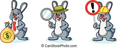 Gray Bunny Mascot with sign