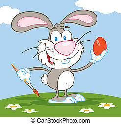 Gray Bunny Painting An Egg Outside