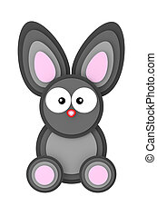 Gray bunny paper style on white background 3D illustration