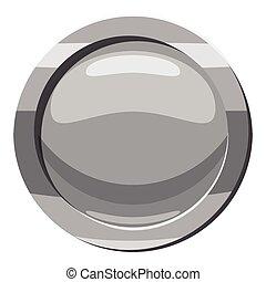 Gray button icon, cartoon style